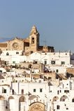Panoramic view of the white village of Ostuni in Salento on the Adriatic sea. Salento is famous for its white villages and its seacoast with many wonderful royalty free stock photo
