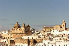 Panoramic view of the white village of Ostuni in Salento on the Adriatic sea. Salento is famous for its white villages and its seacoast with many wonderful royalty free stock image