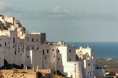 Panoramic view of the white village of Ostuni in Salento on the Adriatic sea. Salento is famous for its white villages and its seacoast with many wonderful stock photos