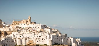 Panoramic view of the white village of Ostuni in Salento on the Adriatic sea. Salento is famous for its white villages and its seacoast with many wonderful royalty free stock images