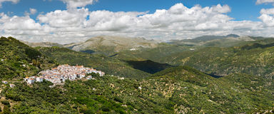 Panoramic view of White Village Pueblos Blancos, Malaga, Andal Stock Image