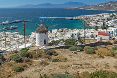 Panoramic view of white windmill and island of Mykonos, Greece Stock Photos