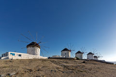 Panoramic view with White windmills on the island of Mykonos, Greece Royalty Free Stock Images