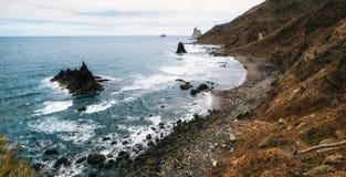 Panoramic view of wild Benijo beach, Tenerife royalty free stock image