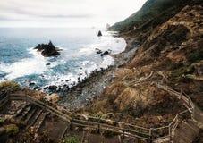 Panoramic view of wild Benijo beach, Tenerife stock photos
