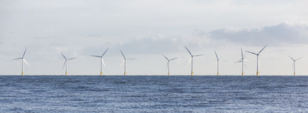 Panoramic Off Shore Wind Farm Stock Photo