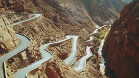 Panoramic view of windy mountain road in the Dades Gorge, Gorges Du Dades, Morocco, danger road in the mountains, full