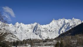 Panoramic view of the winter alps mountain - Valle d`Aosta. Panoramic view of the winter alps mountain of Valle d`Aosta Royalty Free Stock Images