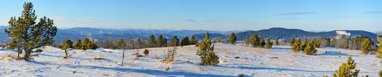 Panoramic view of winter in the Altai mountains, Siberia, Russia Royalty Free Stock Photography