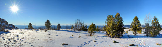 Panoramic view of winter in the Altai mountains, Siberia, Russia Stock Images