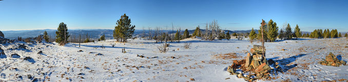Panoramic view of winter in the Altai mountains, Siberia, Russia Stock Photos