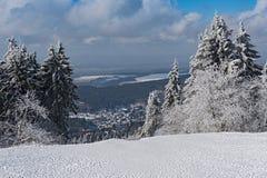 Panoramic view in winter from Feldberg Taunus to the municipality Niederreifenberg.  Stock Photography