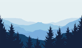 Panoramic view of winter mountain landscape with forest and with. Space for text,  illustration Stock Photos