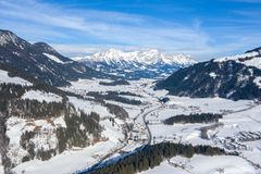 Panoramic view of the winter mountains in Alps Austria. View from above royalty free stock images