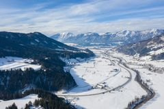 Panoramic view of the winter mountains in Alps Austria. View from above royalty free stock photos