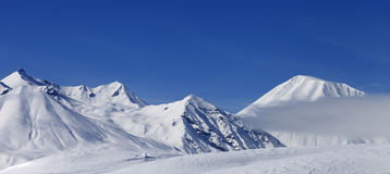 Panoramic view on winter mountains Royalty Free Stock Images