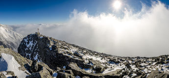 Panoramic view of winter mountains in High Tatras, Slovakia Royalty Free Stock Photo
