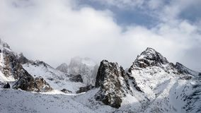 Panoramic view of the winter mountains. Kyrgyzstan.Ala-Archa. stock footage