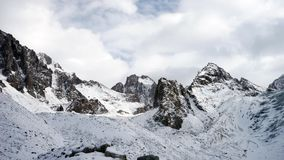 Panoramic view of the winter mountains. Kyrgyzstan.Ala-Archa. stock video footage