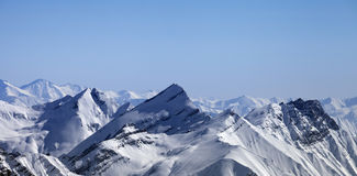 Panoramic view on winter mountains at morning Stock Images
