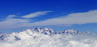 Panoramic view on winter mountains in nice day Royalty Free Stock Images