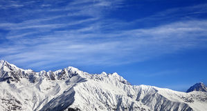 Panoramic view on winter mountains at sun winter day Royalty Free Stock Images