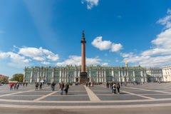 Panoramic view of Winter Palace in sunny day, Hermitage museum, Saint Petersburg. Panoramic view of Winter Palace, Alexander Column in sunny day, Hermitage stock photo