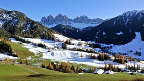 Panoramic view of St. Maddalena village, Dolomites, Italy stock footage