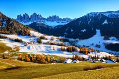 Panoramic view of St. Maddalena village, Dolomites, Italy Royalty Free Stock Images
