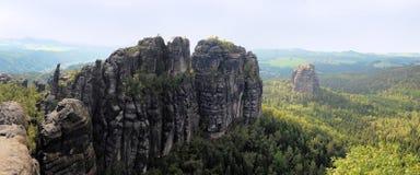 Panoramic view of Winterstein, Saxon Switzerland Stock Photo