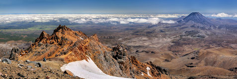 Panoramic View With Mt. Ngauruhoe (New Zealand) Stock Photo