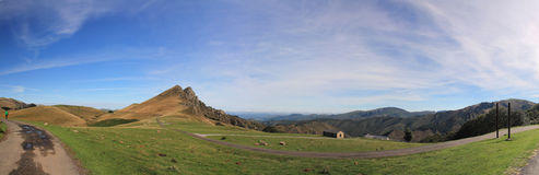 Panoramic view of wonderful landscape view of beautiful irati mountains in blue sky, basque country, france Royalty Free Stock Image