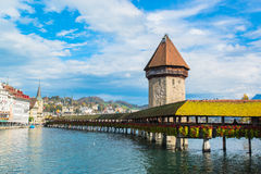 Panoramic view of wooden Chapel bridge. And old town of Lucerne, Switzerland Royalty Free Stock Photo