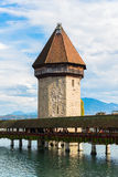 Panoramic view of wooden Chapel bridge Royalty Free Stock Photography