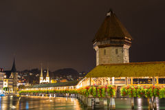 Panoramic view of wooden Chapel bridge and old town of Lucerne Stock Image