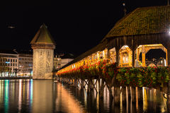 Panoramic view of wooden Chapel bridge and old town of Lucerne Stock Images