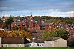 Panoramic view of the woodhouse area of leeds showing buildings. Panoramic view of the woodhouse area of leeds showing streets housing estates and historic Royalty Free Stock Photos