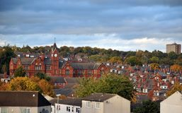 Panoramic view of the woodhouse area of leeds showing streets. Housing estates and historic school building Royalty Free Stock Photography