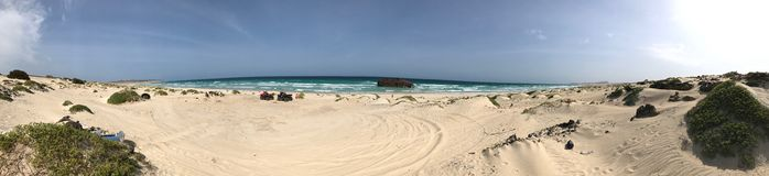 Panoramic view with the wreck on Boa Vista. Wide angle panoramic view with the wreck on Boa Vista Stock Image