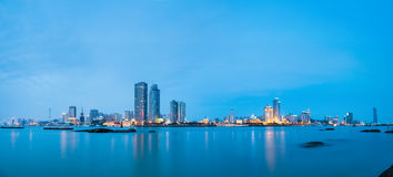 Panoramic view of xiamen skyline in nightfall Stock Image