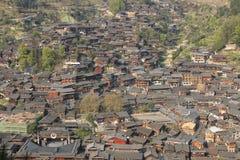Panoramic view of Xijiang Qianhu Miao Village in Guizhou, China royalty free stock photo