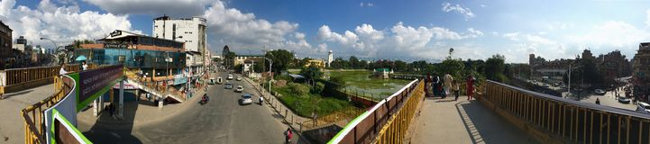 Panoramic view of a Y junction at Kathmandu, Nepal Royalty Free Stock Photos