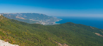 Panoramic view on Yalta city from the Ai-Petri mountain. On Crimean peninsula stock photos