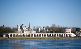 Panoramic view of Yaroslav's Yard and the ancient Trading Market. Of Veliky Novgorod on Volkhov river, Russia Stock Image
