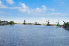 Panoramic view of  Zaanse Schans Royalty Free Stock Images