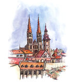 The panoramic view of Zagreb watercolor Stock Photo