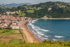 Panoramic view of Zarautz with Guetaria on the background on a b Stock Image