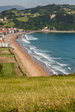 Panoramic view of Zarautz with Guetaria on the background on a b Royalty Free Stock Photography