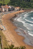 Panoramic view of Zarautz with Guetaria on the background on a b Stock Photography
