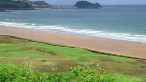 Panoramic view of Zarautz with Guetaria on the background on a bright sunny summer day. Stock Images